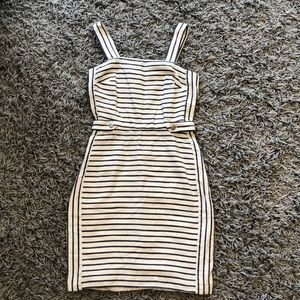 Navy and cream striped dress